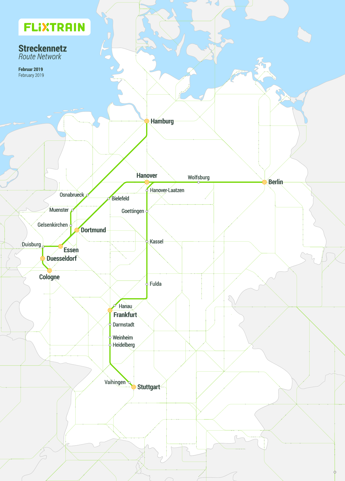 Road Map Of Germany 2017.All Train Routes Flixtrain