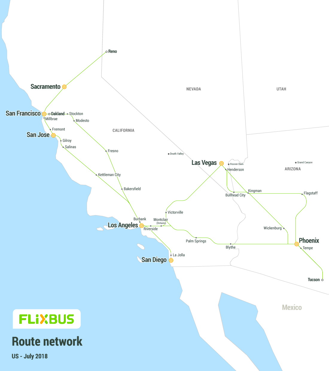 Karta Drzava Usa.Flixbus Convenient And Affordable Bus Travel In The Us From 2 99